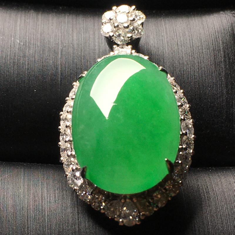 阳绿鸽子蛋翡翠吊坠,水润通透,饱满圆润,完美,性价比高,裸石尺寸:19.4*13.5*5.2整体尺寸