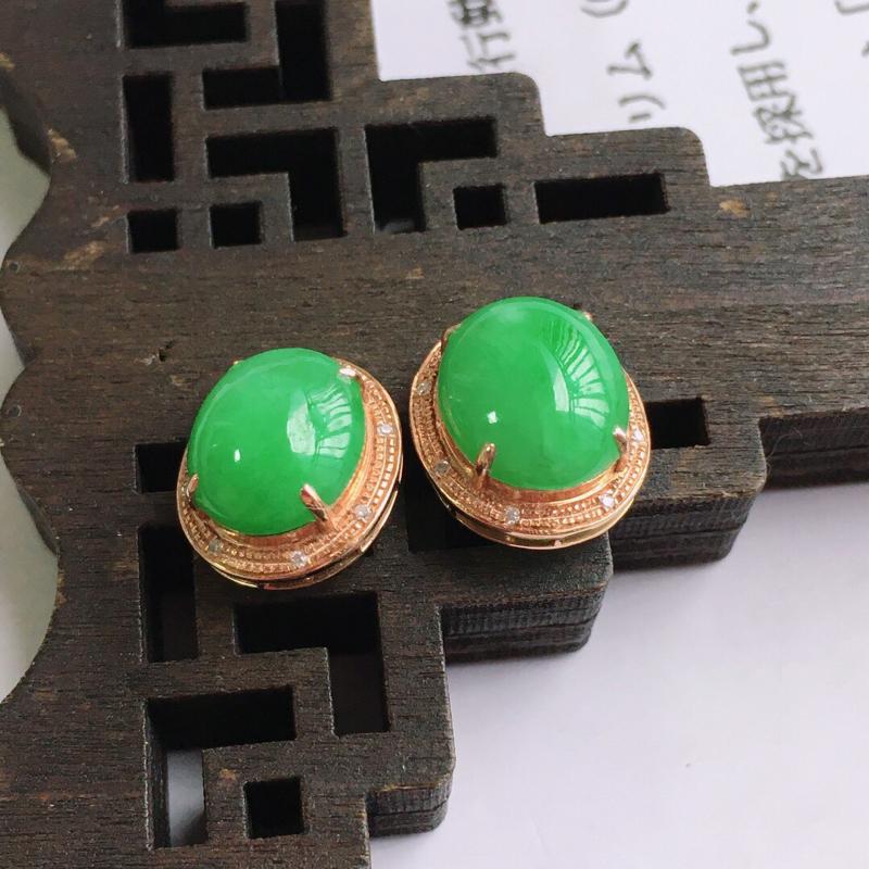 18k金伴钻福气耳钉,天然翡翠A货,包金尺寸:12.8/11.4/6.8mm裸石尺寸:10.4/8.