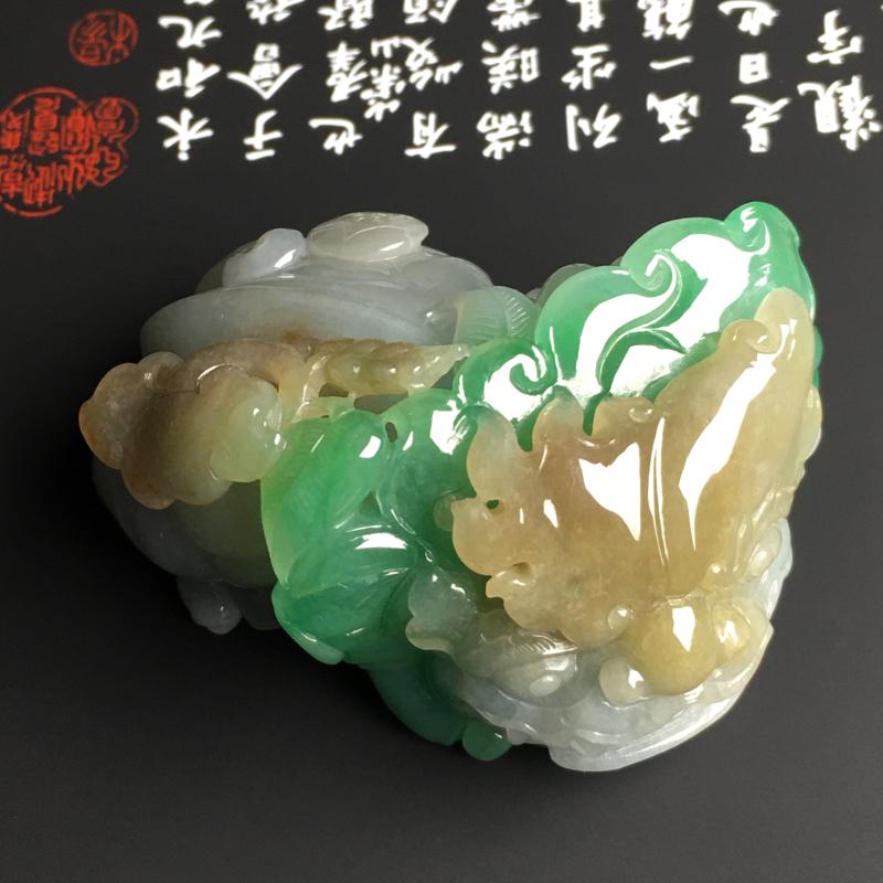 糯化种黄加绿貔貅手把件 质地细腻 雕工精湛 色彩艳丽