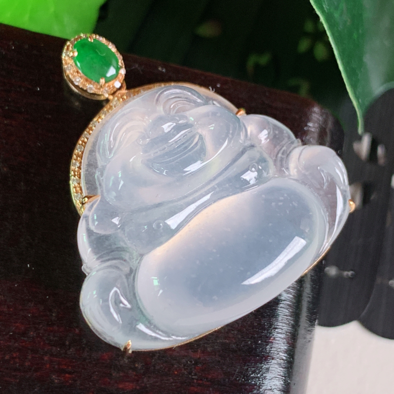 天然翡翠A货-冰种18K金镶嵌佛公笑佛吊坠_种好,玉质细腻,水头饱满,雕工精细,底子干净清爽,水润精