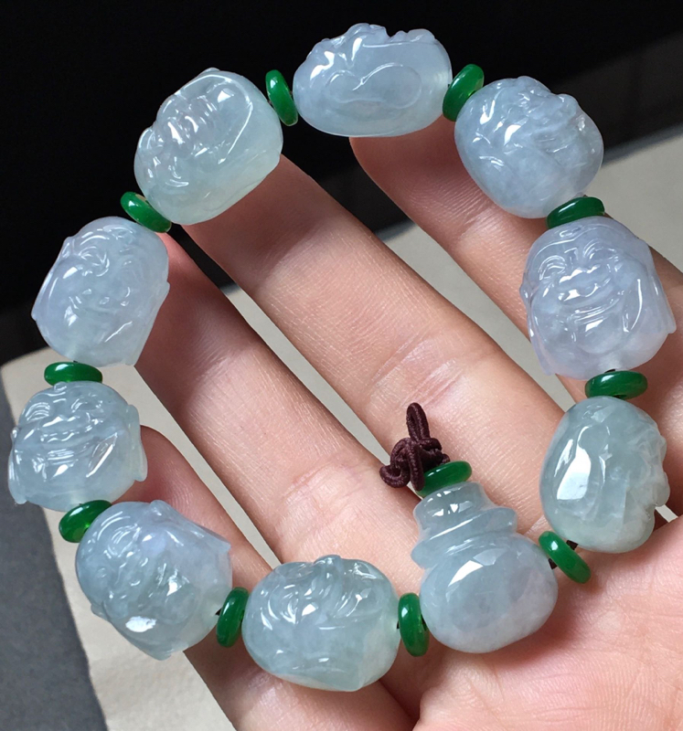 冰纯罗汉手串,冰透水润,完美,性价比高,隔珠装饰品实物更好看,裸石尺寸17/13/11.7