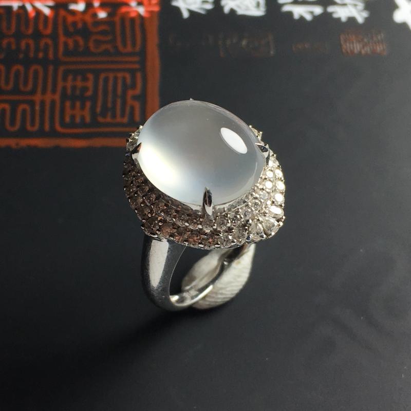 冰种蛋面戒指 18K金带钻镶嵌 内径17 裸石尺寸13-11-4毫米 冰透饱满 豪华镶嵌