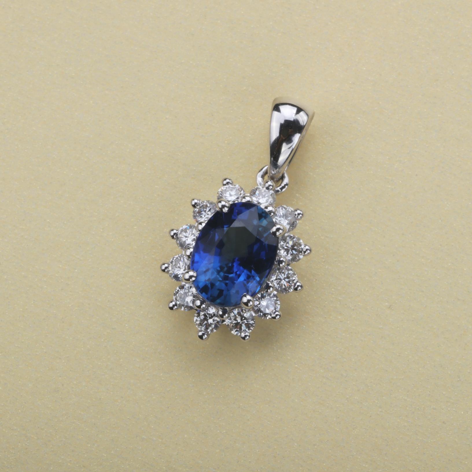 【吊坠】18k金+蓝宝石+钻石  宝石颜色纯正(不含链子) 货重:1.34g  主石:1.01ct
