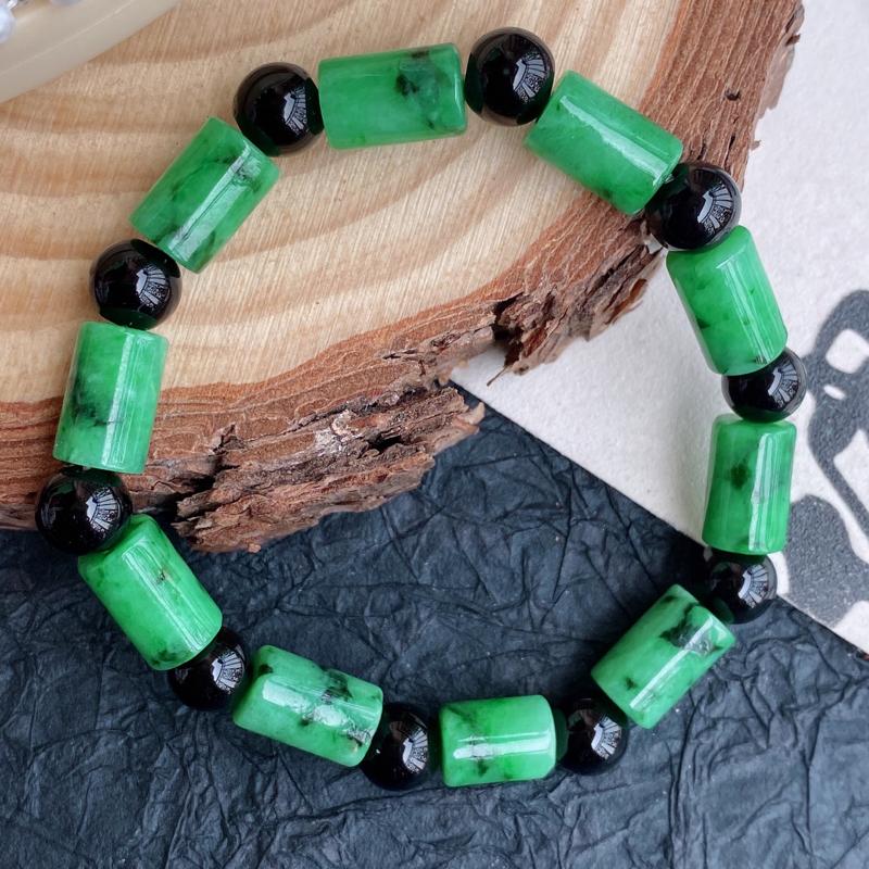 天然翡翠A货福气手链,隔珠是配饰珠,尺寸:直径8*长12mm