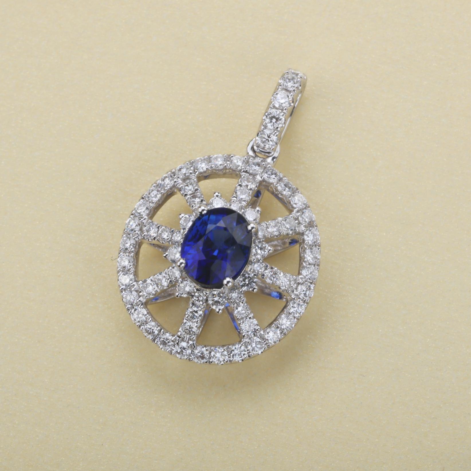 【吊坠】18k金+蓝宝石+钻石  宝石颜色纯正(不含链子) 货重:2.38g  主石:0.69ct