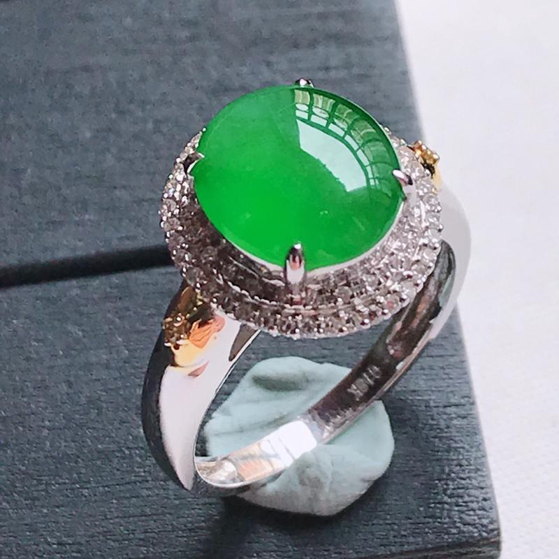 18K金伴钻冰糯种满色阳绿蛋面戒指,天然翡翠A货,尺寸内径16.8,裸石10.1/9.0/3.8,厚