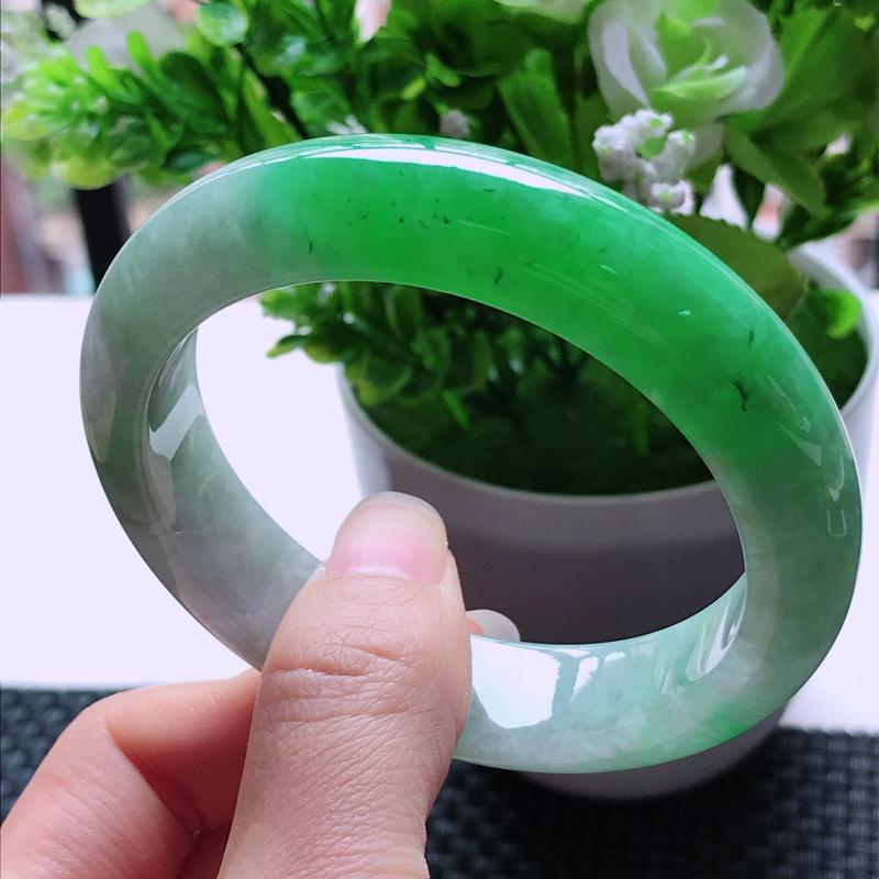 翡翠A货 糯种水润飘阳绿翡翠正装手镯 内径尺寸55.1/13.2/8.8