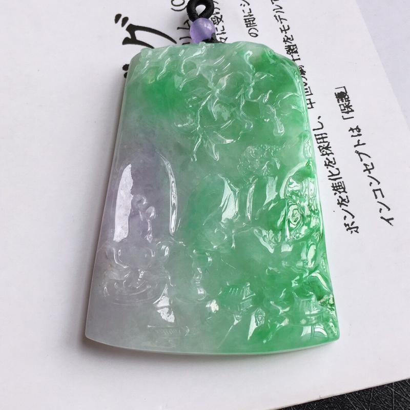 完美春带彩山水牌吊坠,天然翡翠A货,尺寸:71.3/48.3/7mm,顶珠是装饰品