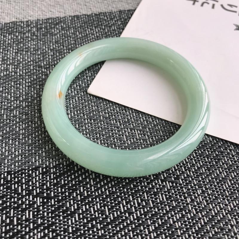 缅甸天然翡翠A货老坑满绿圆条手镯,尺寸58.1*11.1*10.4mm