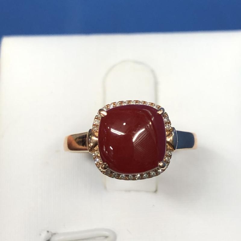 【红珊瑚女戒指💍】纯天然🈚️添加,日本深海阿卡材料,牛血红色,裸石尺寸:8.4*8.3mm,整体尺寸