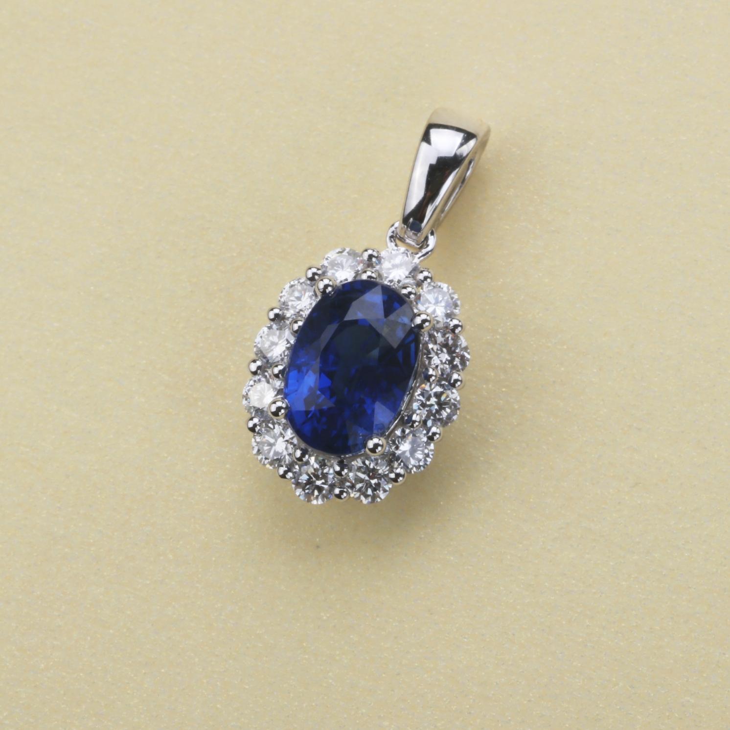 【吊坠】18k金+蓝宝石+钻石  宝石颜色纯正(不含链子) 货重:1.36g  主石:1.10ct