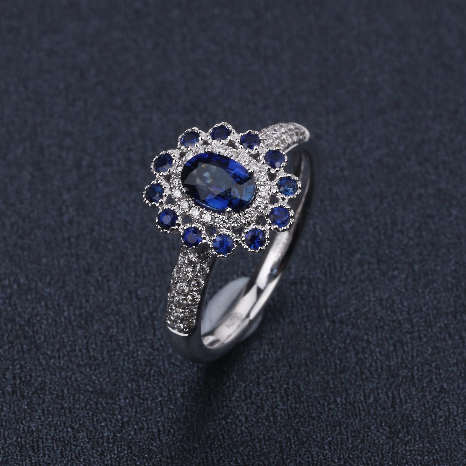 【原价8970元】*【戒指】18k金+蓝宝石+钻石