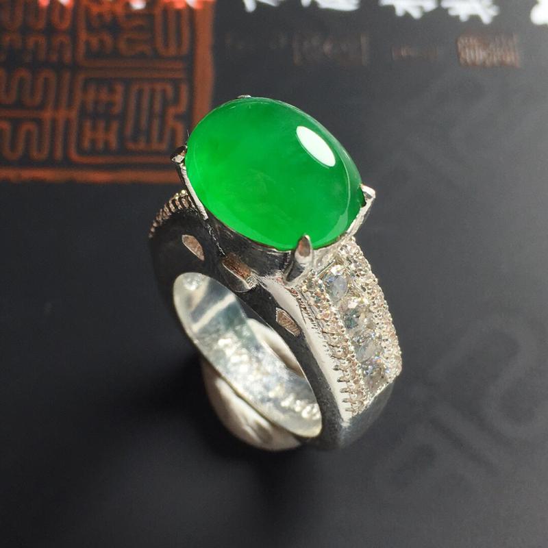 冰糯种满绿戒面 铜托 裸石尺寸13-11-5毫米 水润饱满 色彩浓绿 镶嵌后效果更佳