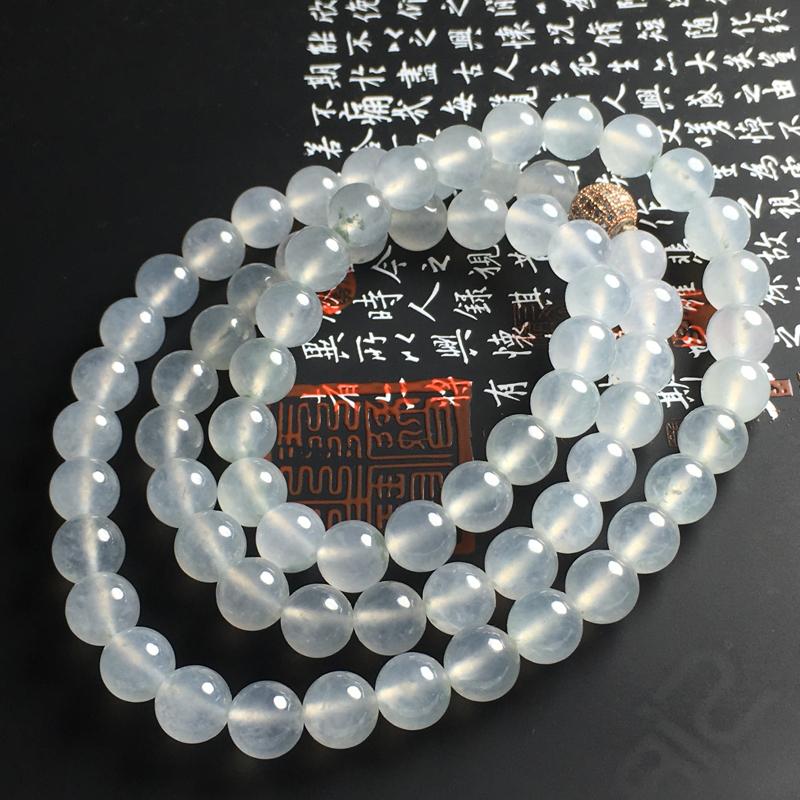 冰种佛珠项链 直径9.5毫米 种好冰透 干净清爽 佩戴大气精美