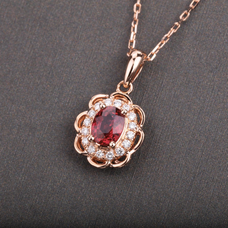 【吊坠】18k金+红宝石+钻石  宝石颜色纯正(不含链子) 货重:1.03g  主石:0.36ct