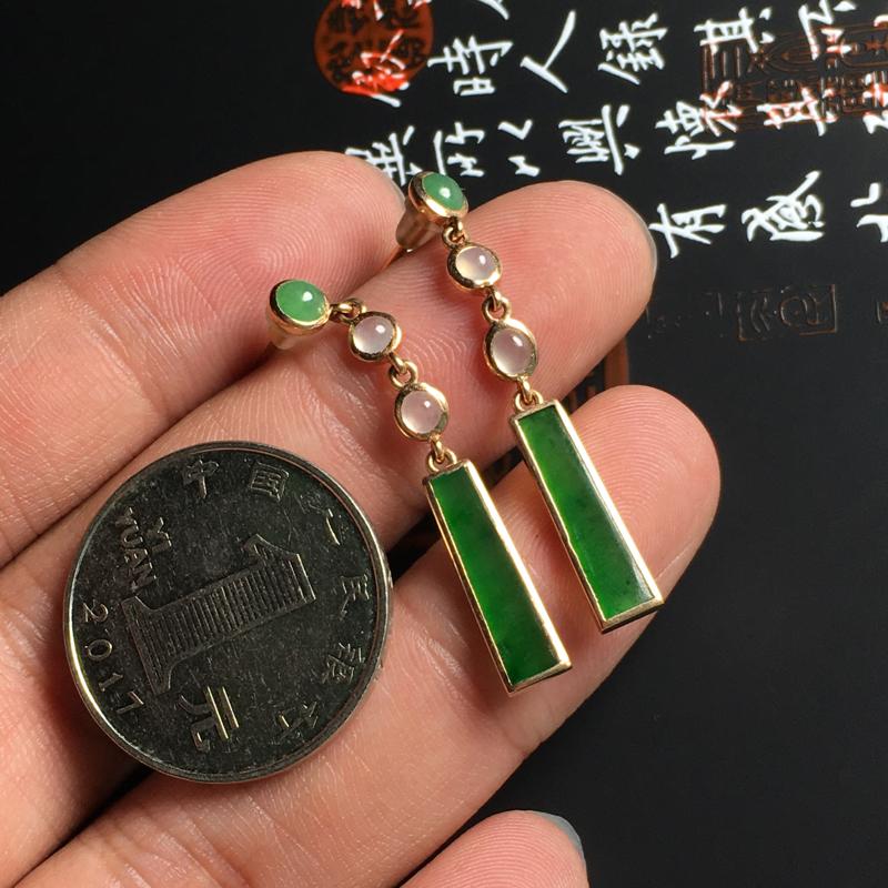 冰糯种翠绿无事牌耳坠 18K金镶嵌 裸石尺寸10.5-4.5-2毫米 色泽艳丽 款式精美