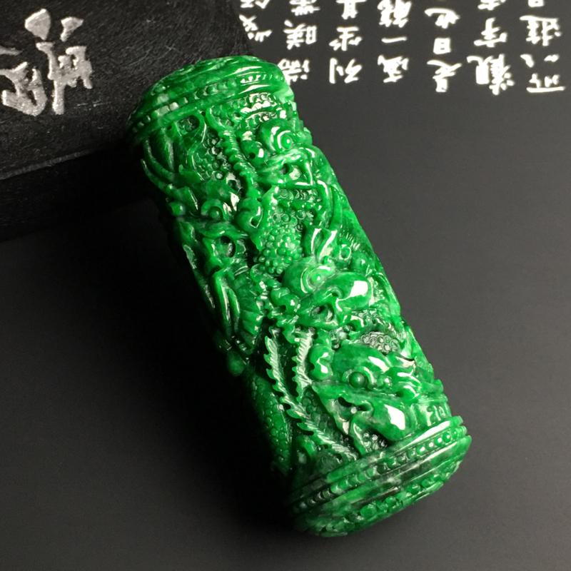 豆种阳绿【九五至尊】龙柱吊坠 雕工精湛 翠色阳绿 款式新颖