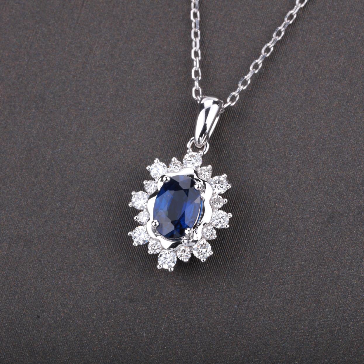【吊坠】18k金+蓝宝石+钻石  宝石颜色纯正(不含链子) 货重:1.58g  主石:0.63ct
