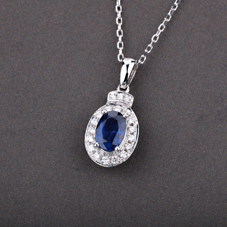 【吊坠】18k金+蓝宝石+钻石  宝石颜色纯正(不含链子) 货重:1.51g  主石:0.57ct