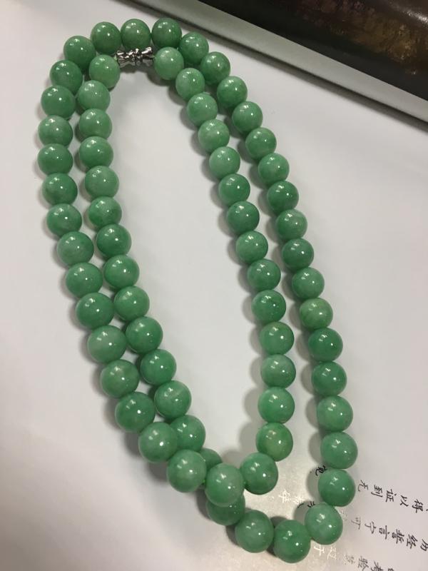 糯种豆色珠链,尺寸9.1-9.3mm 颗数68颗