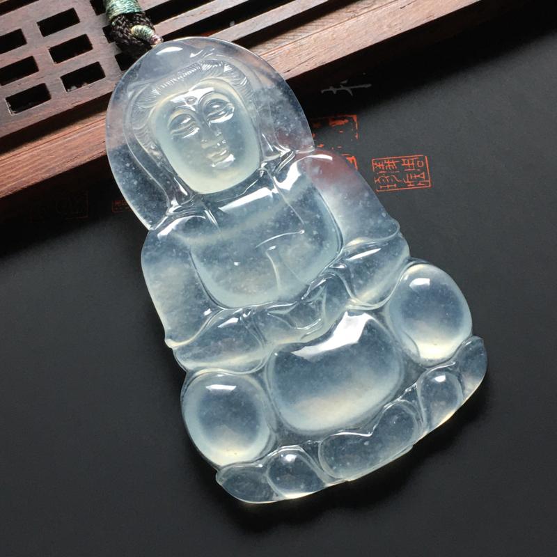 冰种莹润观音吊坠 尺寸61-37.5-6毫米 种老起胶 水润冰透 清爽干净 端庄大气