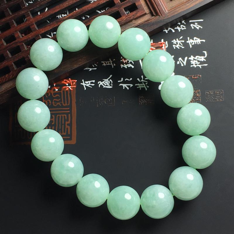 糯种晴绿佛珠手串 直径13毫米 玉质水润 色彩亮丽