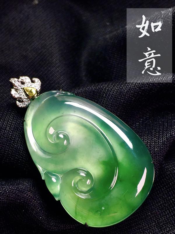 精品翡翠如意, 种水不错,料子好, 裸石35-23.5-5mm,整体43-23.5-9.3mm,15
