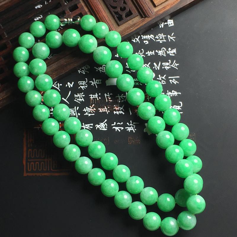 糯种满色佛珠项链 直径大10毫米 小8.5毫米 珠圆玉润 色阳亮丽