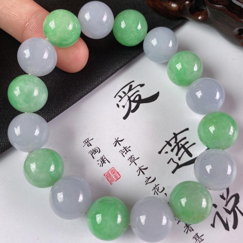 缅甸a货翡翠,水润双彩圆珠手链,玉质细腻,圆润饱满,佩戴效果更好
