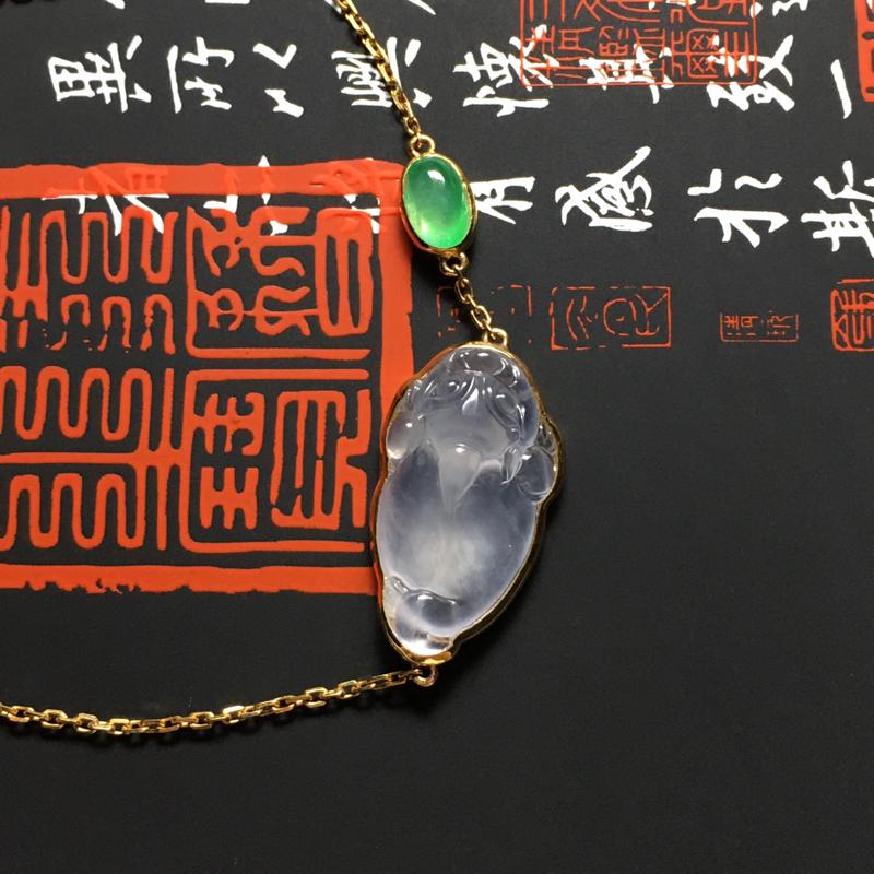 冰种招财金蟾精美手链 18K金镶嵌 裸石尺寸21.5-11.5-5.5毫米 种好冰透 清爽亮丽