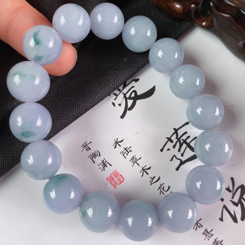 缅甸a货翡翠,水润紫罗兰手链,玉质细腻,水润饱满,圆润饱满,佩戴效果更好