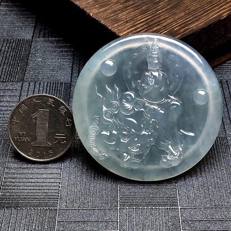 【👍👍 好品质, 所见即所得!冰种文殊菩萨吊坠, 尺寸:直径54.4mm 厚5.3mm🌺🌺】图7
