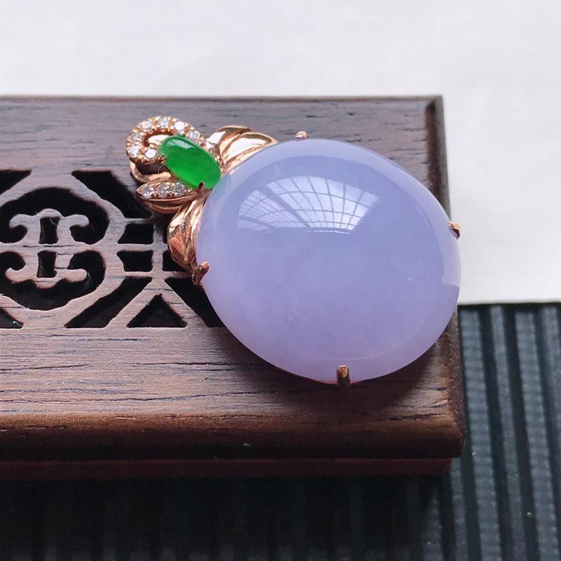 天然翡翠A货18K金镶嵌伴钻细糯种紫罗兰精美蛋面吊坠,含金尺寸28.4-18.3-10.6mm,裸石