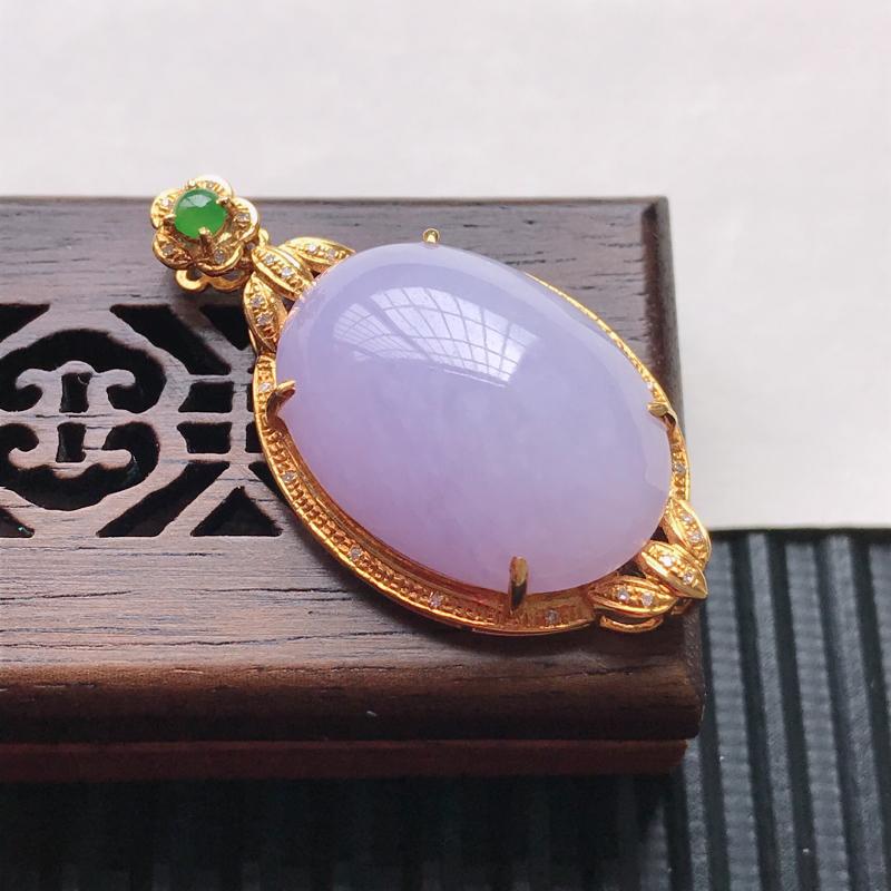 天然翡翠A货18K金镶嵌伴钻细糯种紫罗兰精美蛋面吊坠,含金尺寸34.4-18.7-9.8mm,裸石尺