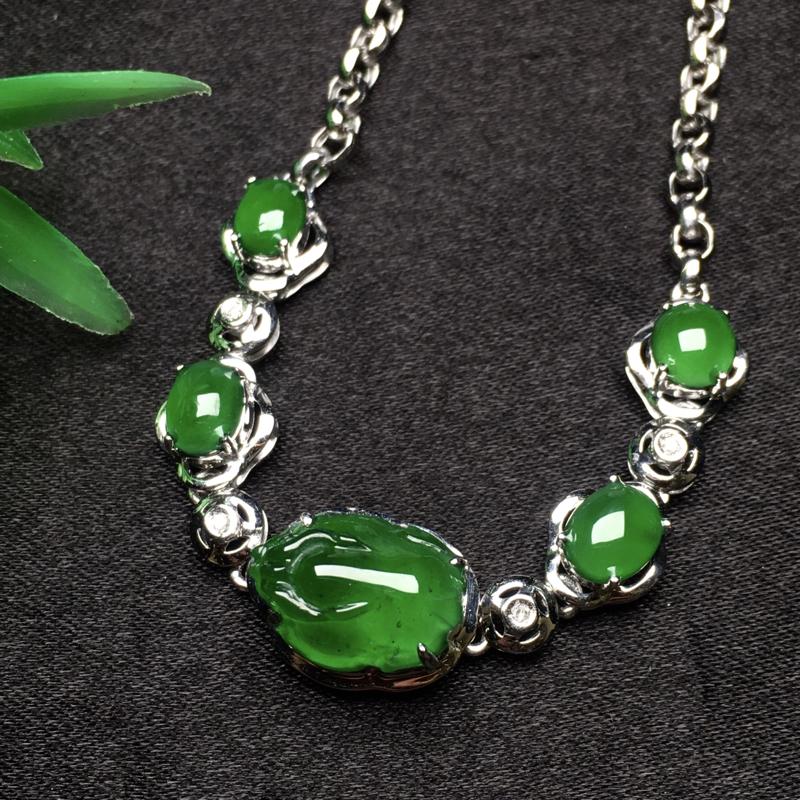 天然翡翠A货,18K金伴钻镶嵌,满绿招财貔貅手链,色泽鲜艳,款式时尚,性价比超高
