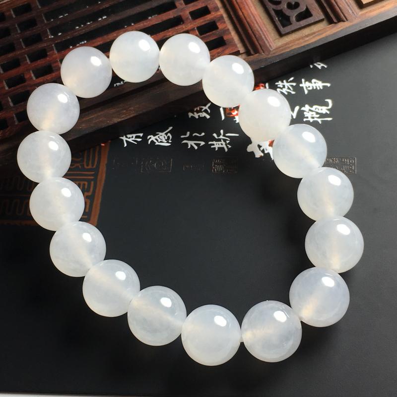冰糯种佛珠手串 佛珠尺寸12.5毫米 珠圆玉润 通透亮丽