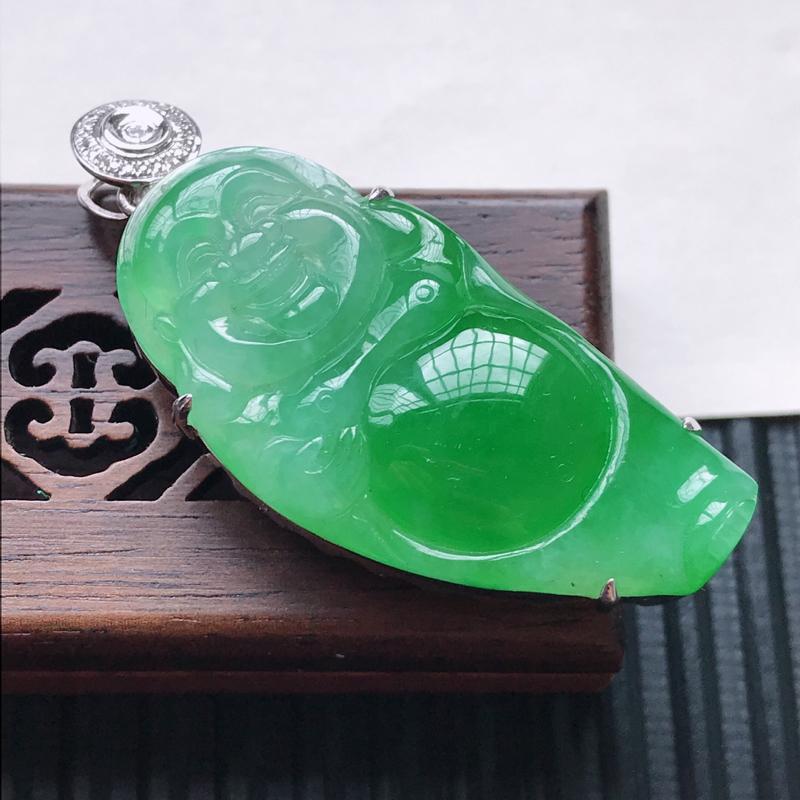 天然翡翠A货18K金镶嵌伴钻细糯种飘绿精美佛公吊坠,含金尺寸45.8-19-11.5mm,裸石尺寸3