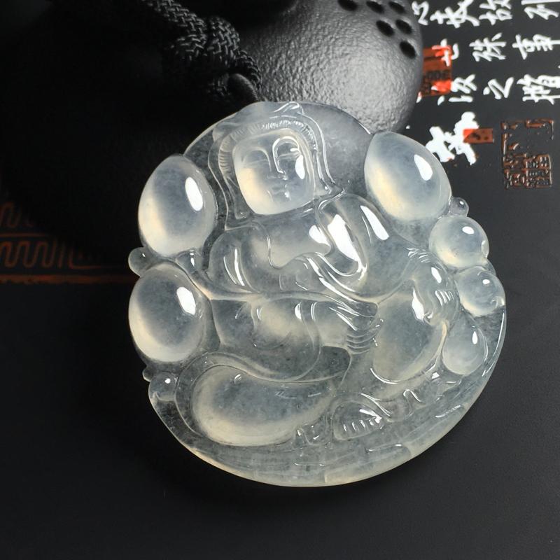 冰种观音吊坠  尺寸49-47-6.5毫米 种好冰透