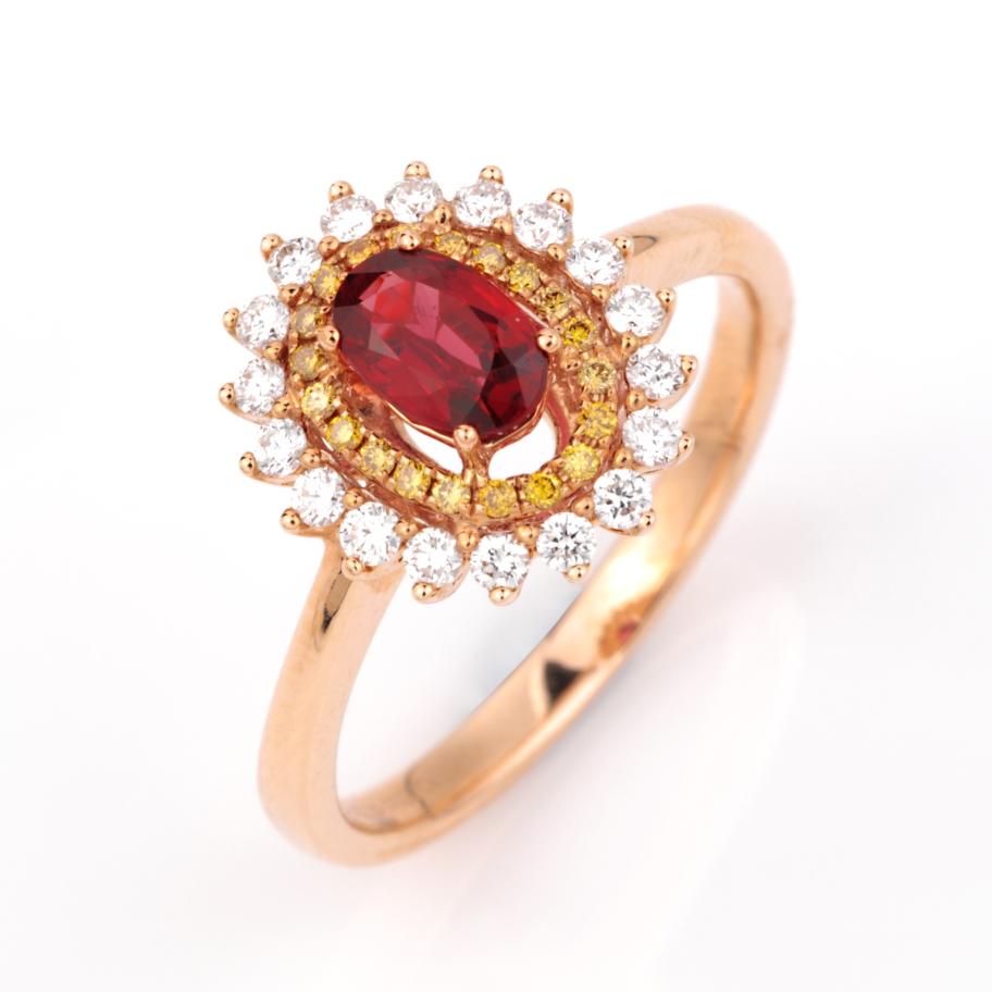 --【戒指】18k金+红宝石+钻石+黄钻