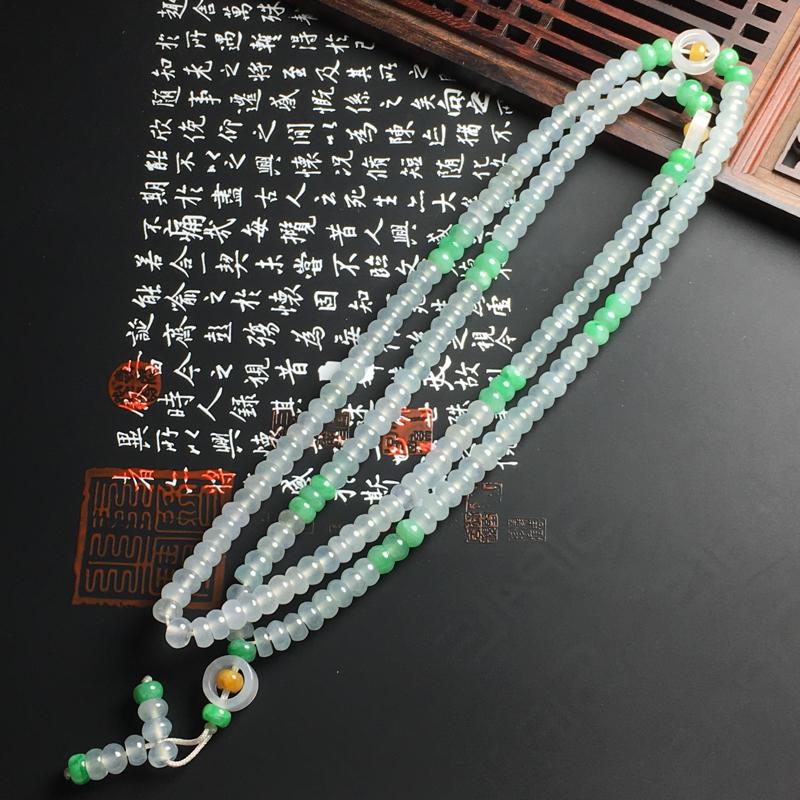 冰种双彩盘珠项链 裸石尺寸5-2.5毫米 冰透亮丽 款式精美
