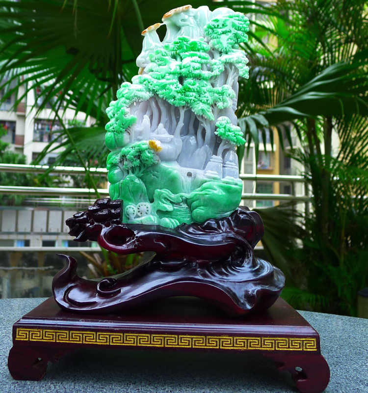 缅甸天然翡翠A货 精美 三彩黄加绿 正阳绿高山流水 山水摆件 雕刻精美线条流畅 种水好 层次分明 丰