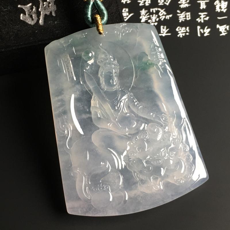 冰种飘花【文殊菩萨】吊坠 水润通透 质地细腻 雕工精湛