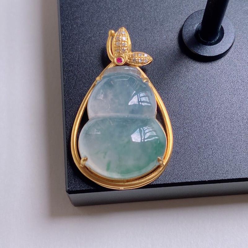 0603老坑冰润精美飘花A货翡翠18K金镶钻葫芦吊坠 含金尺寸24.5*14.8*7.5mm