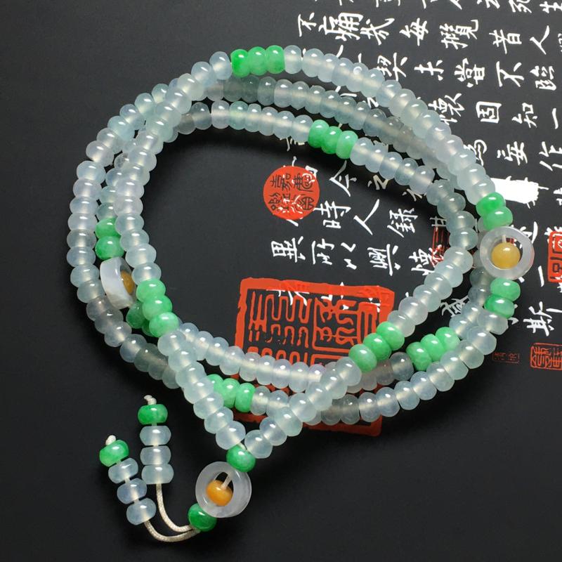 冰种双彩盘珠项链 185颗 尺寸5.5-3毫米 种好冰透 色泽亮丽