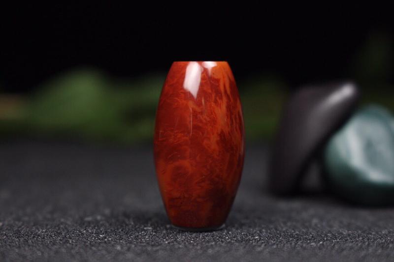 【桶珠】精品火焰纹桶珠,火焰纹绵密细腻,整件玉化完美,可作手绳,可作锁骨珠等等,火焰纹意境丰富优美,