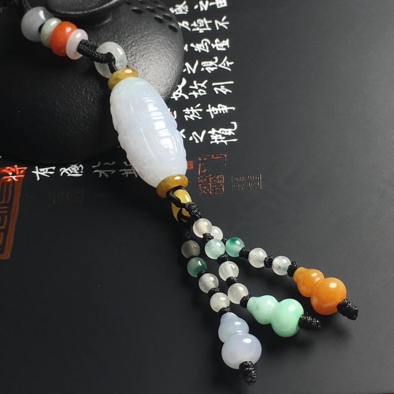 细糯种仿古转运珠吊坠 裸石尺寸28-14毫米 玉质细腻 款式精美 配珠为翡翠