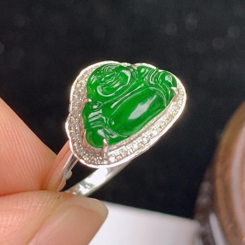 缅甸a货翡翠,18k金伴钻满绿佛公戒指,玉质细腻,面相清秀,有种有色,佩戴效果更好,整体10.9_1