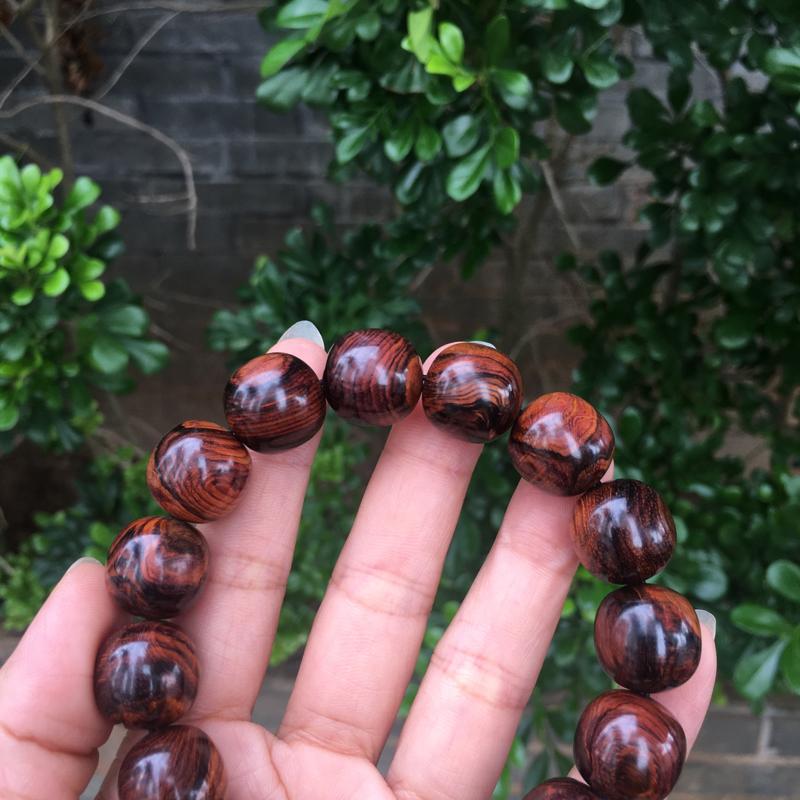 【海南黄花梨老油梨15×15老型珠,材质细腻光滑,纹理清晰自然,克重28.4g】图7