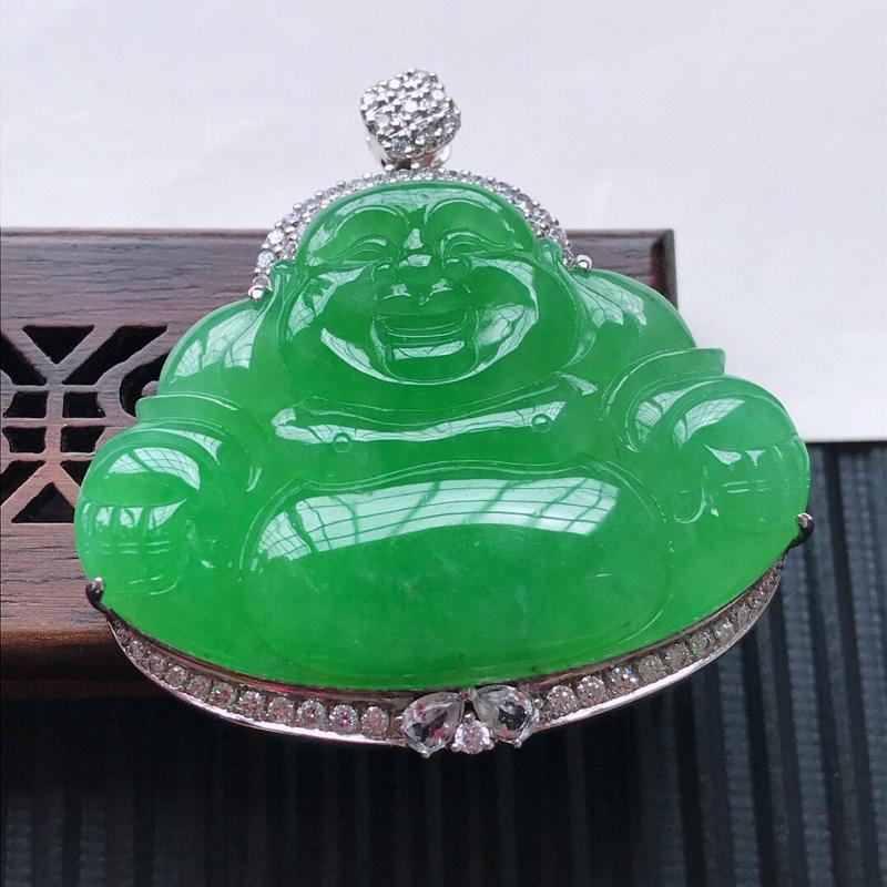 天然翡翠A货18K金镶嵌伴钻糯化种满绿精美佛公吊坠,含金尺寸44-42.5-11.4mm, 裸石尺寸