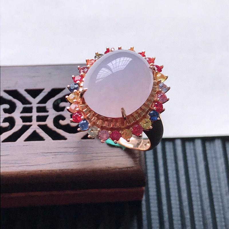 天然翡翠A货18K金镶嵌伴钻糯化种淡紫精美蛋面戒指,内径尺寸18mm,裸石尺寸13.7-12-5.4